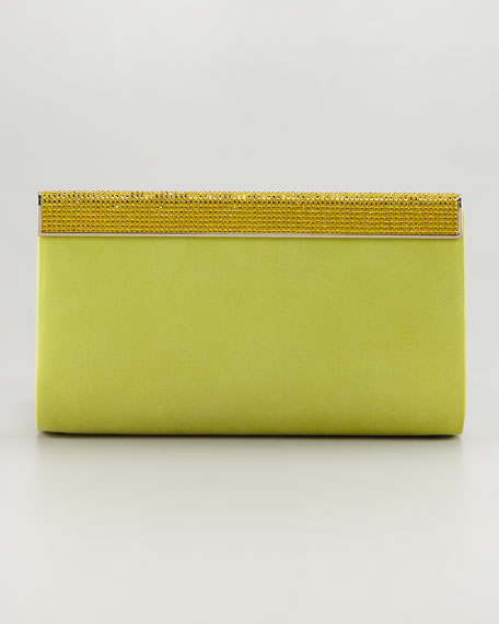 Cayla Crystal-Top Leather Clutch Bag, Citrine