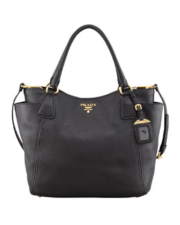 Prada Daino Double-Pocket Tote Bag, Black