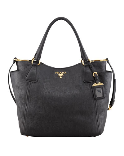 Prada Daino Side-Pocket Tote Bag, Black (Nero)