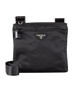 Prada Vela Crossbody Messenger Bag, Black (Nero)