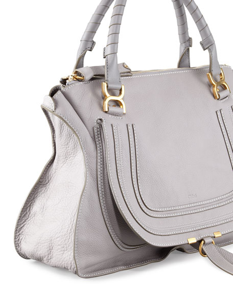 Marcie Large Leather Satchel Bag, Cashmere Gray