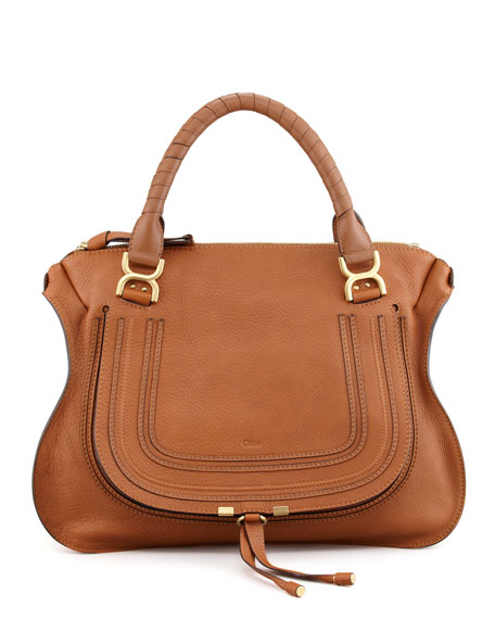 chloe imitation bags - Chloe Marcie Large Leather Satchel Bag, Tan