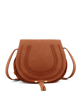 Chloe Marcie Horseshoe Crossbody Satchel Bag, Tan