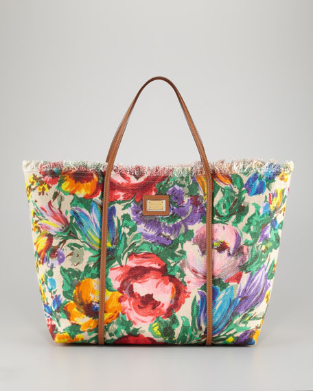Miss Escape Floral Canvas Tote Bag
