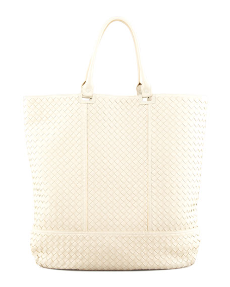 Maxi Woven North-South Tote Bag, Off White