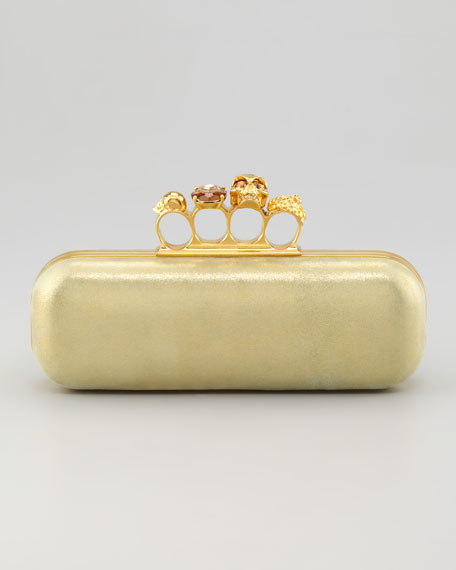 East-West Knuckle-Duster Metallic Clutch, Green