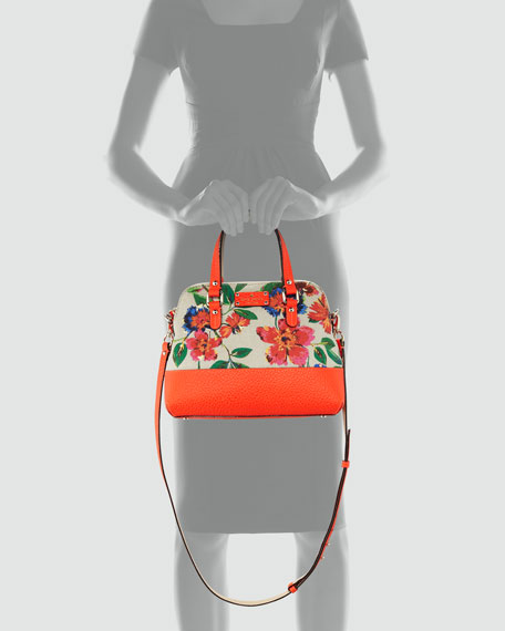 grove court maise floral-print satchel bag, orange