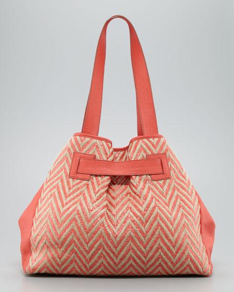 Addison Chevron Tote Bag, Orange