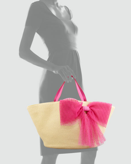 Point d'Esprit Straw Tote Bag