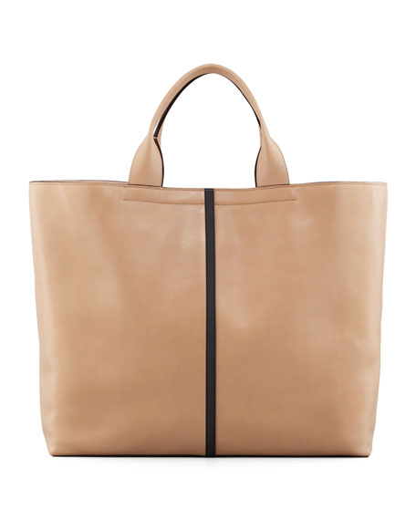 Track Leather Tote Bag, Almond