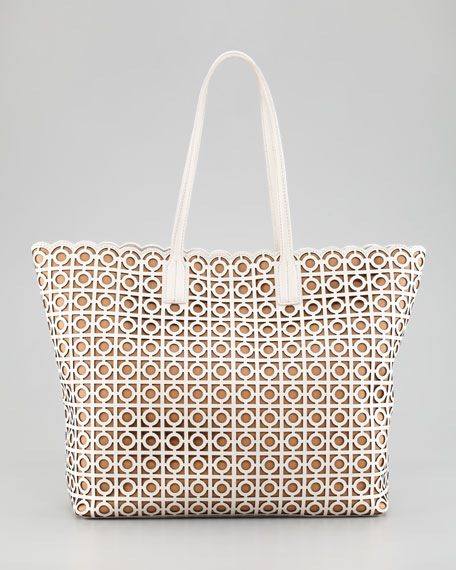 Kelsey Laser-Cut East-West Tote Bag, White