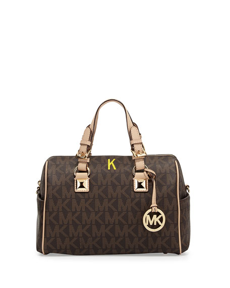 Medium Grayson Logo Monogram Satchel, Brown