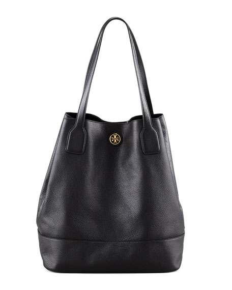 Michelle Leather Tote Bag, Black