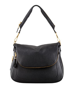 Tom Ford Jennifer Large Calfskin Shoulder Bag, Black