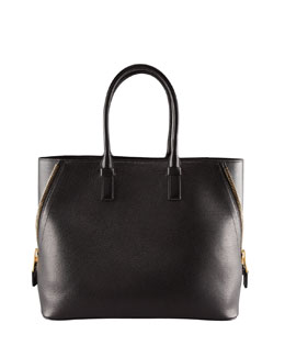 Tom Ford Jennifer Trap Calfskin Tote Bag, Black