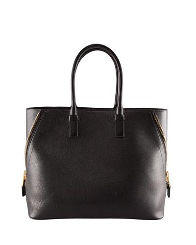 Tom Ford Jennifer Large Trap Calfskin Tote Bag, Black