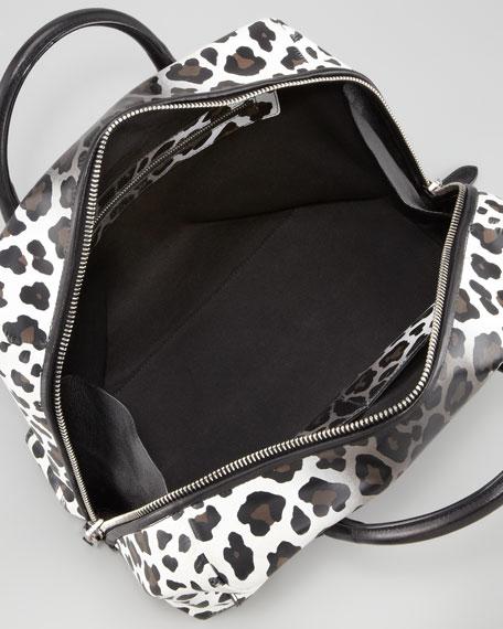 Antonia Small Leopard-Print Satchel Bag, Natural