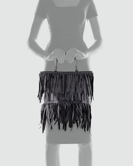 Woven-Handle Fringe Leather Tote Bag, Black