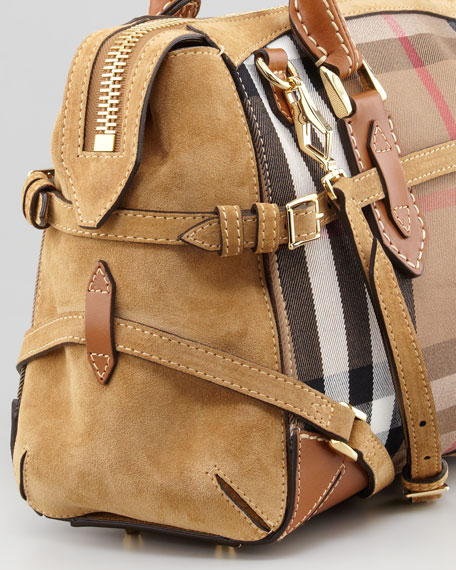 Check Canvas and Suede Satchel Bag, Tan