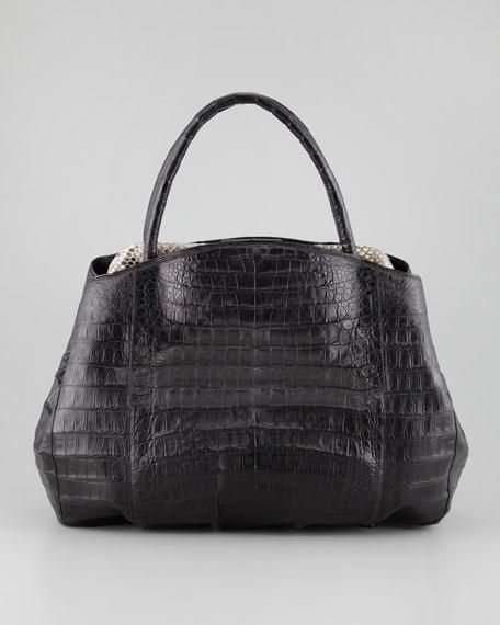 Crocodile Python-Frame Tote Bag, Black/Multi
