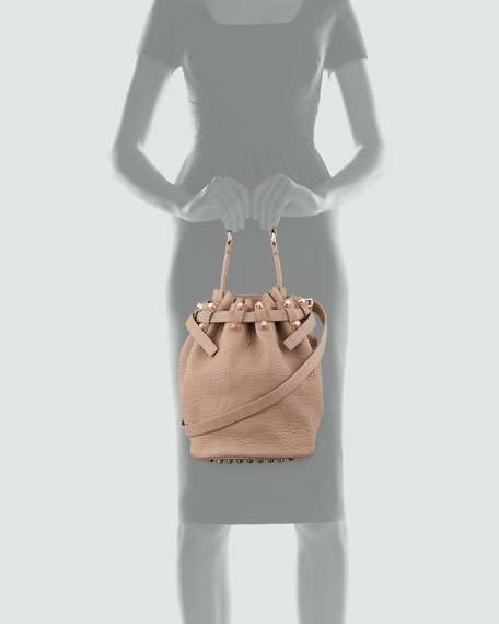 Diego Bucket Bag, Beige/Rose Golden Hardware