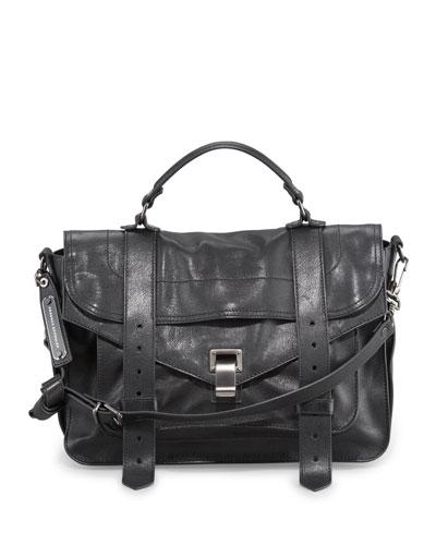 PS1 Medium Satchel Bag, Black