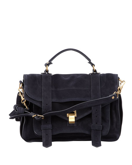 Proenza Schouler PS1 Medium Suede Satchel Bag, Navy
