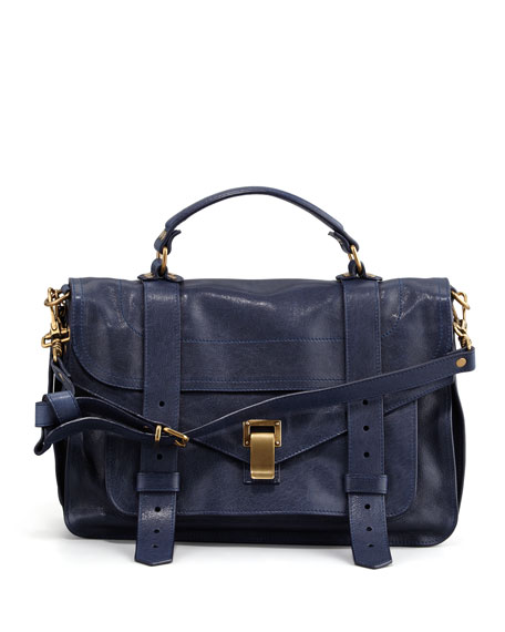 Proenza Schouler PS1 Medium Calfskin Satchel Bag, Midnight