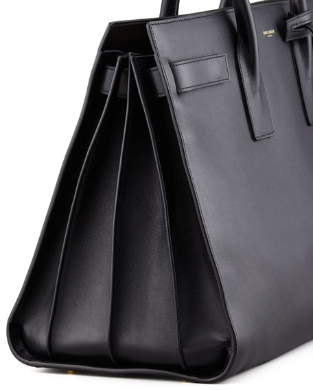 Classic Sac De Jour Leather Satchel Bag, Black