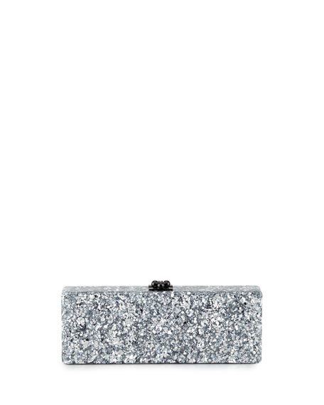 Edie ParkerFlavia Confetti Acrylic Clutch Bag, Silver