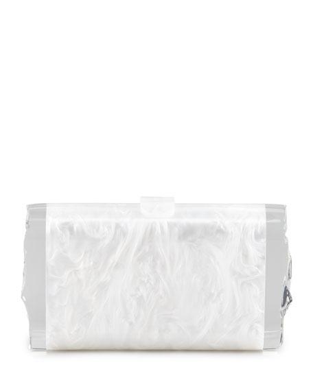 Lara Acrylic Ice Clutch Bag, White