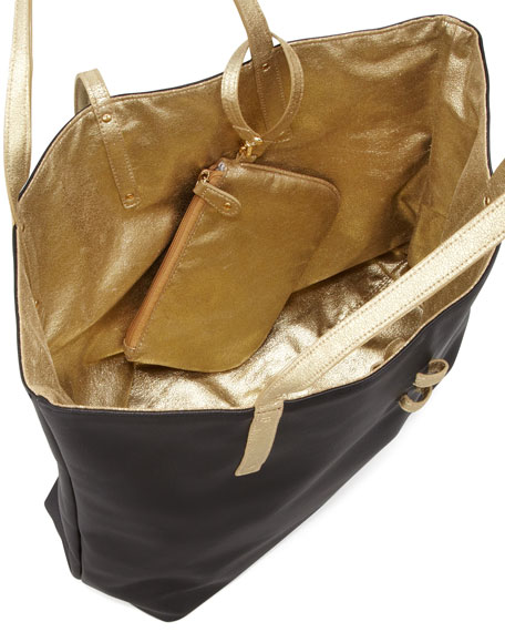Sydney Two-Tone Tote Bag, Black/Gold