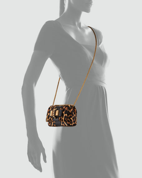 Sweet Charity Leopard-Print Calf Hair Crossbody Bag