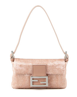 Fendi Glass-Beaded Silk Mini Baguette, Pink