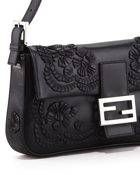 Embroidered Leather Baguette Shoulder Bag, Black