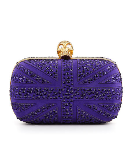 Crystal Britannia Box Clutch Bag, Purple