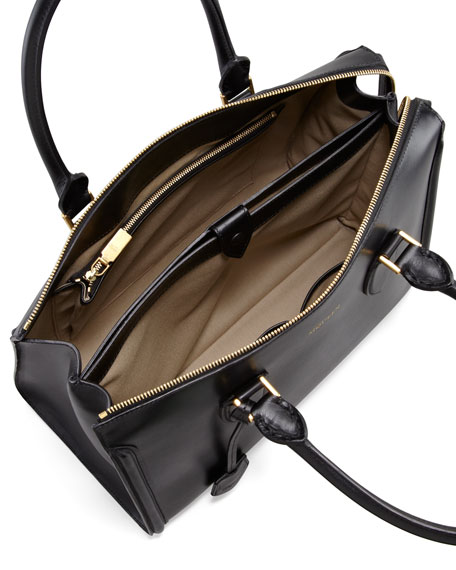 Heroine Leather Zip-Up Tote Bag, Black