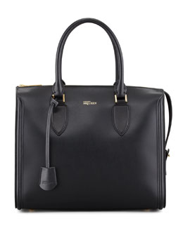 Alexander McQueen Heroine Leather Zip-Up Tote Bag, Black
