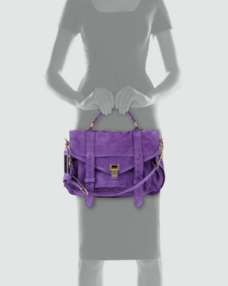 PS1 Suede Medium Satchel Bag, Purple