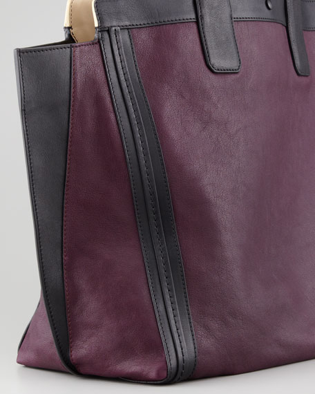 Alison East-West Colorblock Tote Bag, Purple