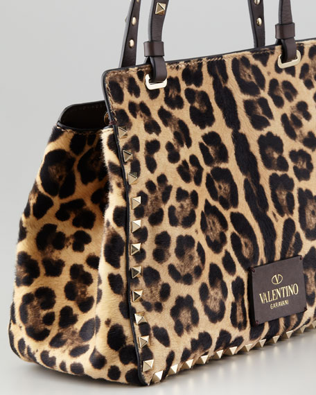 Rockstud Mini Leopard Print Calf Hair Tote Bag