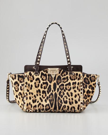 Rockstud Mini Leopard-Print Calf Hair Tote Bag