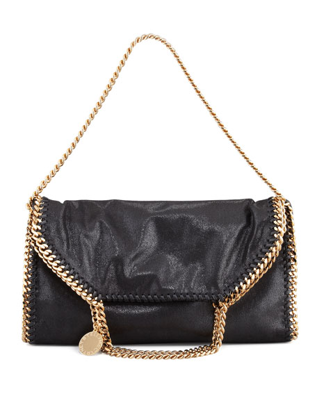Falabella Fold-Over Shoulder Bag, Black