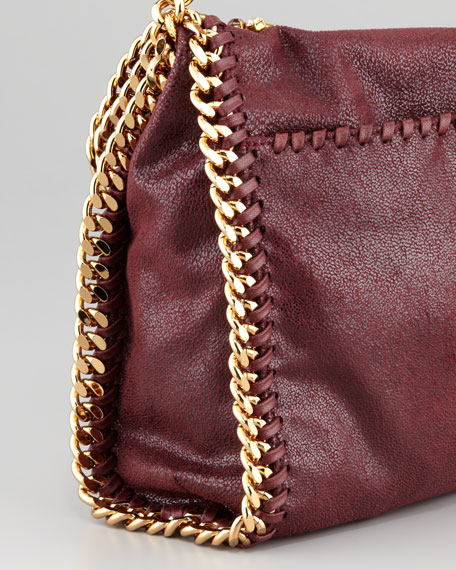 Falabella Small Embroidered Fold-Over Tote Bag, Plum