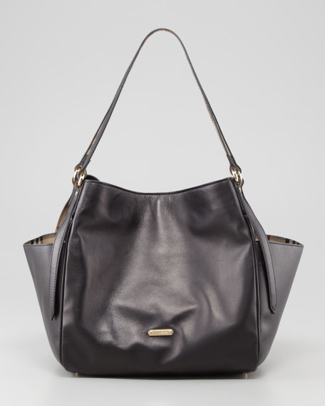Leather Tote Bag with Pockets, Black