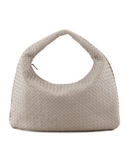 Bottega Veneta Intrecciato Hobo Bag, Gray