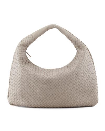 Bottega Veneta Intrecciato Hobo Bag, Gray