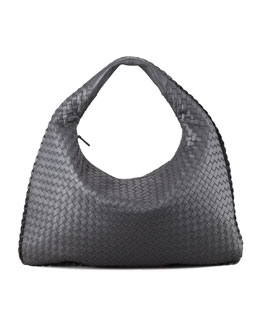 Bottega Veneta Intrecciato Woven Hobo Bag, Charcoal