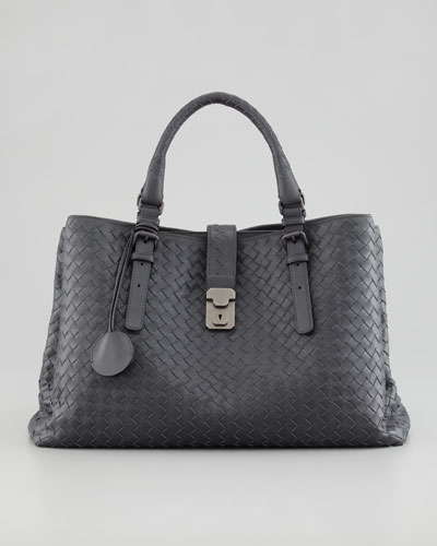Roma Woven Compartment Tote Bag, Charcoal