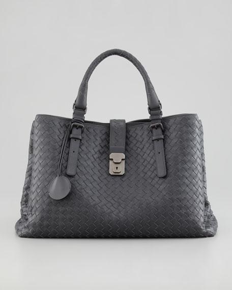 b4bd7cce18 Bottega Veneta Roma Medium Woven Compartment Tote Bag